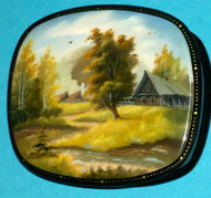 RUSSIAN HANDPAINTED MOTHER OF PEARL LACQUER BOX - SPRINGTIME VILLAGE #3197
