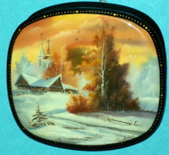 RUSSIAN HANDPAINTED MOTHER OF PEARL LACQUER BOX - SUNSET #3190
