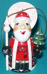 WOW! HAND CRAFTED TAMPA BAY BUCCANEERS WOODEN SANTA CLAUS TREE ORNAMENT