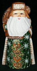 Golden Uzor Russian Linden Wood Santa w/ Traditional Shapka Cap #3663