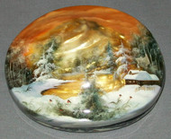 RUSSIAN WHOLE SHELL MOTHER OF PEARL FEDOSKINO LACQUER BOX - GOLDEN SUNSET #0035