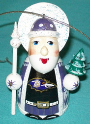 WOW! HAND CRAFTED BALTIMORE RAVENS WOODEN SANTA CLAUS TREE ORNAMENT