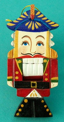 UNIQUE HANDCARVED RUSSIAN NUTCRACKER ORNAMENT #7058