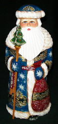 Russian Hand Carved & Painted Golden Uzor Santa w/ Winter Blue Cloak #6186