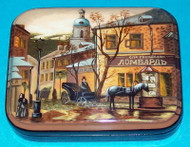 HORSE DRAWN CARRIAGE ON LOMBARD - RUSSIAN HANPAINTED LACQUER BOX #8711