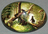 TRADITIONAL RUSSIAN BEARS IN PINE FOREST - HANDPAINTED MOP LACQUER BOX #4438