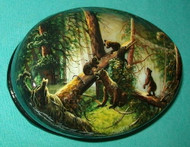 TRADITIONAL RUSSIAN BEARS IN PINE FOREST - HANDPAINTED MOP LACQUER BOX #0589