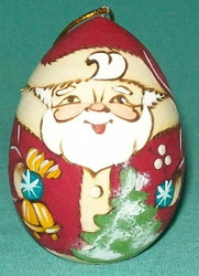 TRADITIONAL RUSSIAN EGG SHAPED SANTA CLAUS HANDCRAFTED TREE ORNAMENT