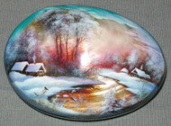 MOTHER OF PEARL HAND PAINTED FEDOSKINO RUSSIAN LACQUER BOX GLOWING SUNSET #4454