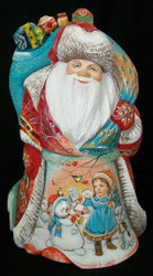RUSSIAN HAND PAINTED SANTA CLAUS w/ TOYS - CHILDREN & DOGS PLAYING #7970