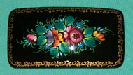 MAGNIFICENT BRIGHTLY COLORED RUSSIAN HAND PAINTED PAPIER MACHE BARRETTE #3216