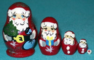 FUN LITTLE 5 PC MINIATURE SANTA CLAUS RUSSIAN NESTING SET #0018