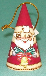 BELLS & BOUGHS ON CONE SHAPED RUSSIAN SANTA CLAUS ORNAMENT