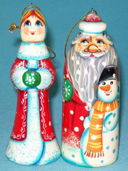 RUSSIAN SANTA & MRS. CLAUS HAND PAINTED CHRISTMAS TREE ORNAMENT SET #5629