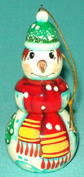 BRIGHTLY COLORED HAND PAINTED RUSSIAN SNOWMAN TREE ORNAMENT