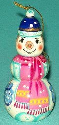 FUN LITTLE HAND PAINTED RUSSIAN SNOWMAN TREE ORNAMENT