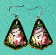 PINK, PURPLE & WHITE FLOWERS ON FAN SHAPED HAND PAINTED RUSSIAN EARRINGS #7798