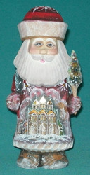 Golden Russian Linden Wood Santa w/ Orthodox Church & Onion Domes #1202