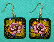 BEAUTIFUL RASPBERRY & YELLOW HAND CRAFTED FLORAL EARRINGS #7773
