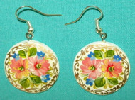 BEAUTIFUL PINK PASTEL HAND PAINTED PAPIER MACHE EARRINGS #7781