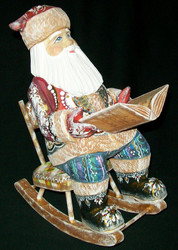 MAGNIFICENT HANDCARVED & PAINTED RUSSIAN SANTA w/ROCKING CHAIR & STORYBOOK #1609