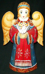 HAND CARVED & HAND PAINTED BRIGHTLY COLORED RUSSIAN ANGEL w/ DOVE #0082