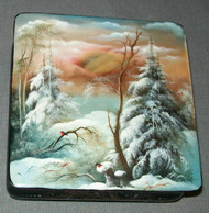 HAND PAINTED RUSSIAN MOTHER OF PEARL LACQUER BOX #3127 – GOLDEN SUNSET