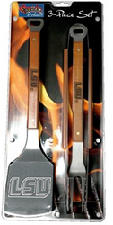 LSU Wooden 3pc BBQ Set