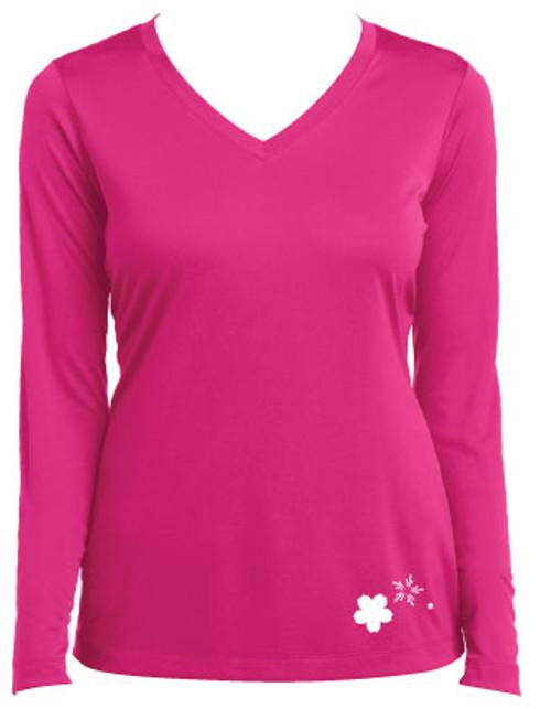 Cherry Blossom Ladies Long Sleeve V-Neck Performance T-Shirt