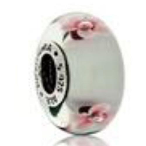 Pink Glass Cherry Blossom Bracelet Charm