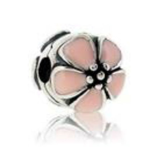 Silver Pink Cherry Blossom Clip for Bracelets