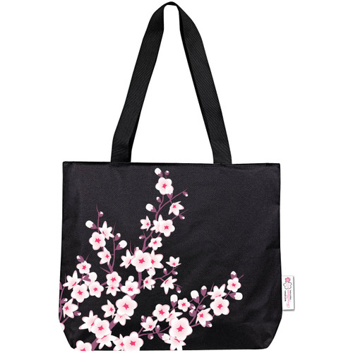 Cherry Blossom Black Tote Bag