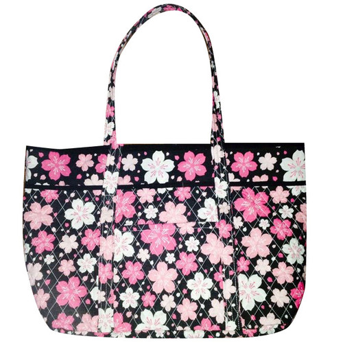 Cherry Blossom Quilted Tote Bag