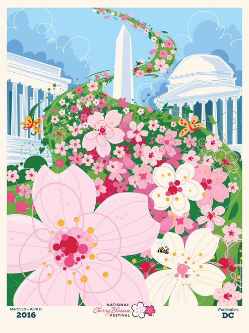 2016 National Cherry Blossom Official Poster by Artist Thomas Burns