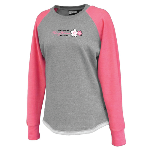 Cherry Blossom Ladies Terry Fleece (Gray/Pink)