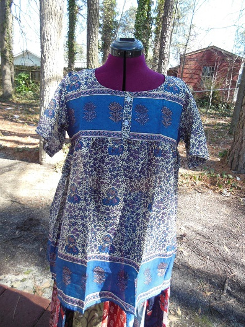 Babydoll Peasant Top (in blue and purple)