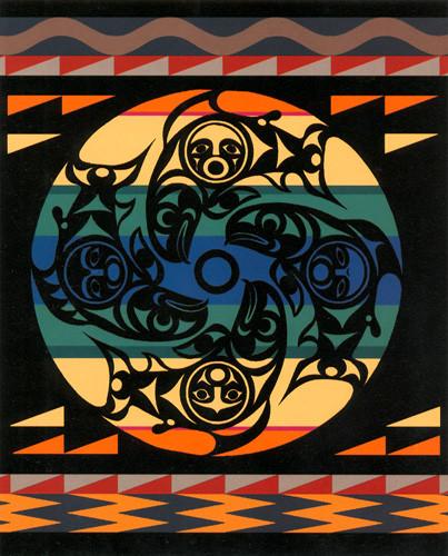 Salmon People Black Blanket by Susan Point woven by Pendleton Woolen Mills