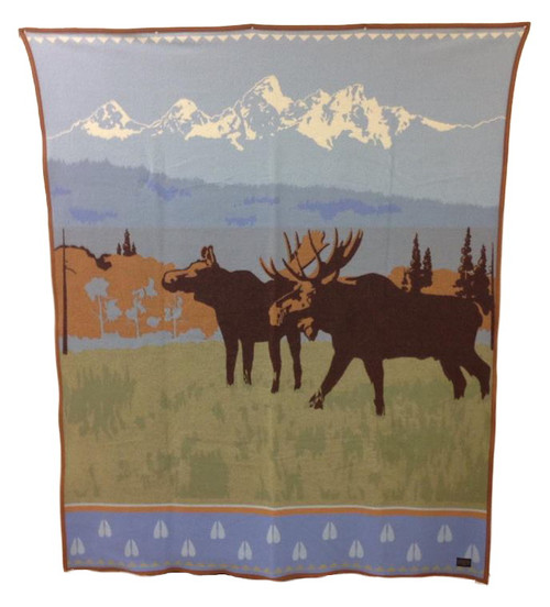 Jackson Hole Pendleton Sunrise at Jenny Lake Moose wool blanket