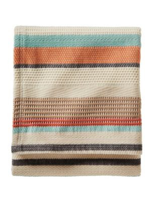 Chimayo Coral Cotton and Wool Blanket
