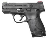 S&W M&P Shield Ported 9mm 3.1 Inch Ported Barrel Black Melonite Finish Black Ported Slide Polymer Frame Hi-Viz Sights 7/8 Round Magazines
