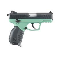 Ruger SR22 Pistol Blued finish and Ruger Turquoise Cerakote grip frame