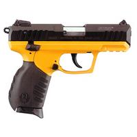 SR22 Blued finish and Ruger Yellow Cerakote grip frame.