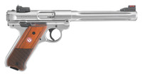 RUG Mark IV Hunter .22 Long Rifle 6.88 Inch Fluted Bull Barrel Satin Stainless Steel Finish Fiber Optic Front Sight Checkered Laminate Grip 10 Round