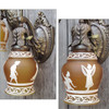 L11256 - Pair of Antique Neoclassical Wall Sconces with Amber Shades