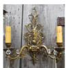 L15257 - Pair of Vintage Brass Double Arm Candle Sconces