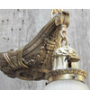 L16181 - Antique Colonial Revival Three Light Hanging Pan Fixture