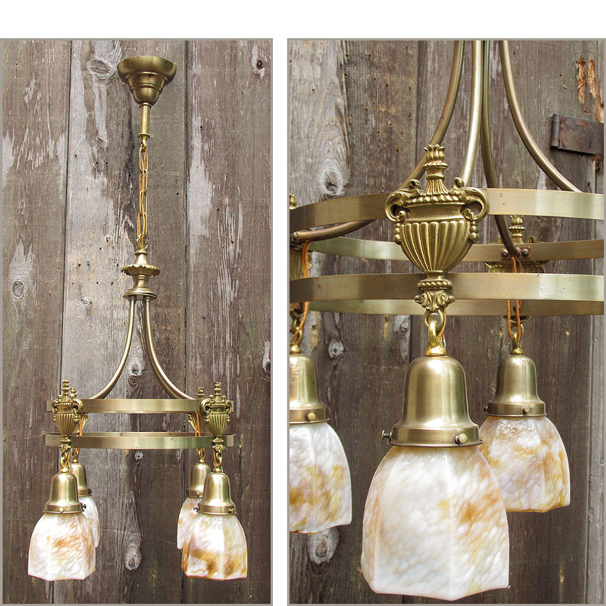 L10806 - Antique Neoclassical Four Light Ceiling Fixture with Art Glass Shades