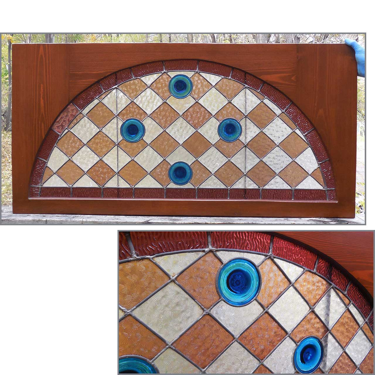 G13069 - Antique Victorian Stained Glass Window