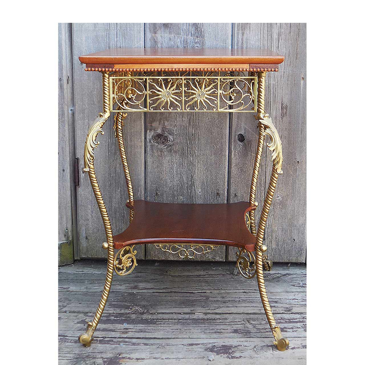 F14032 - Antique Late Victorian Mahogany and Brass Lamp Table