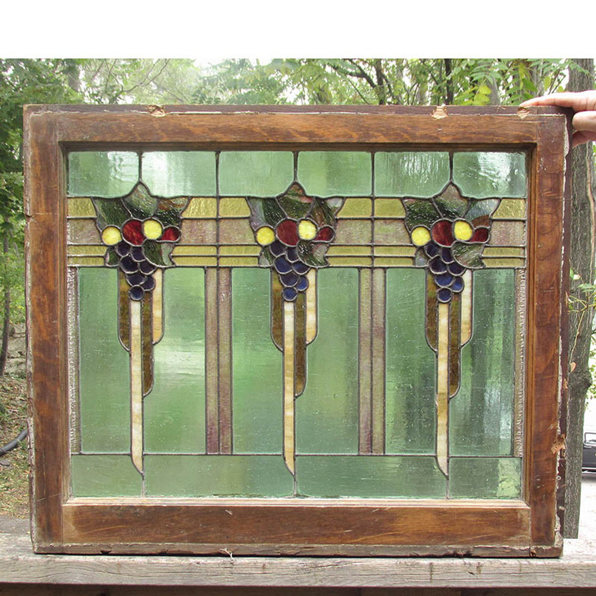 G15051 - Antique Arts & Crafts Stained Glass Window